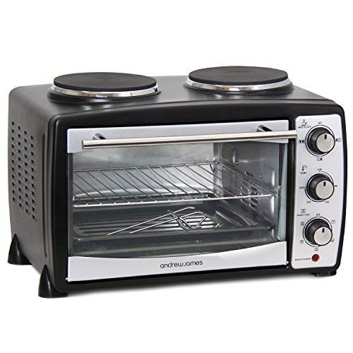 Andrew James 24L Black Mini Oven with Electric Grill and ...