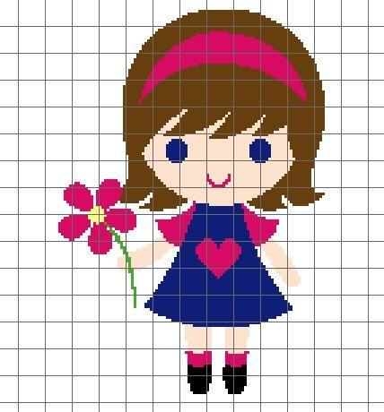 Little Girl with Flower Crochet Graph/Chart