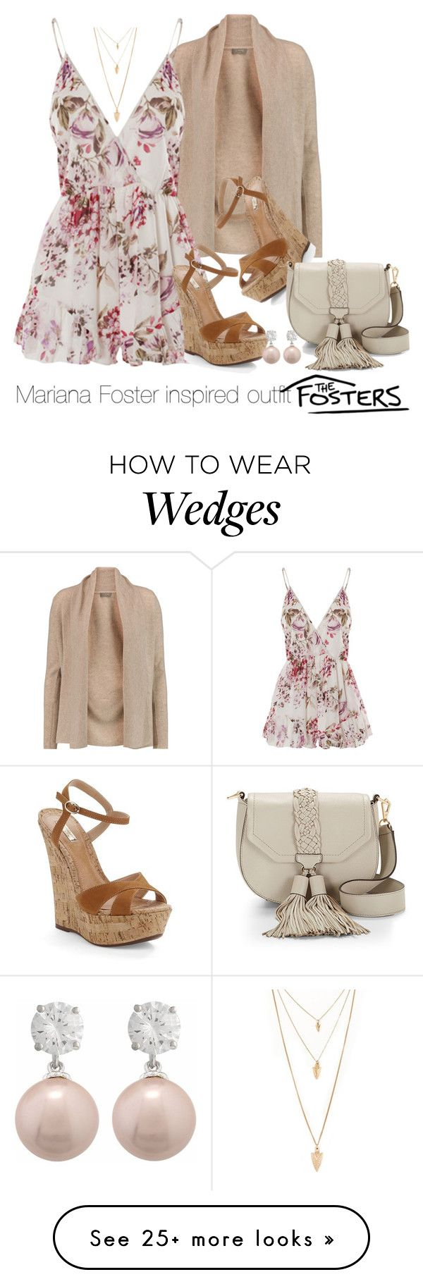 """""""Mariana Foster inspired outfit/TF"""" by tvdsarahmichele on Polyvore featuring N.Peal, WithChic, Schutz, Forever 21 and Rebecca Minkoff"""