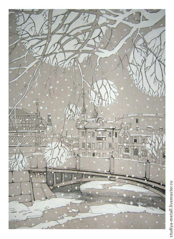 """Купить графика рисунок """"умиротворение"""" - пейзаж, городской пейзаж, зимний пейзаж, снежный, Санкт-Петербург"""