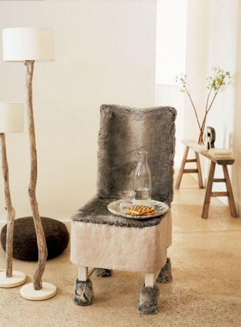 Superior 40 Inspiring Warm Fur Furniture Pieces For Fall And Winter : 40 Adorable  Warm Fur Furniture With White Wall Wooden Chair Cushions Leather Ch. Pictures