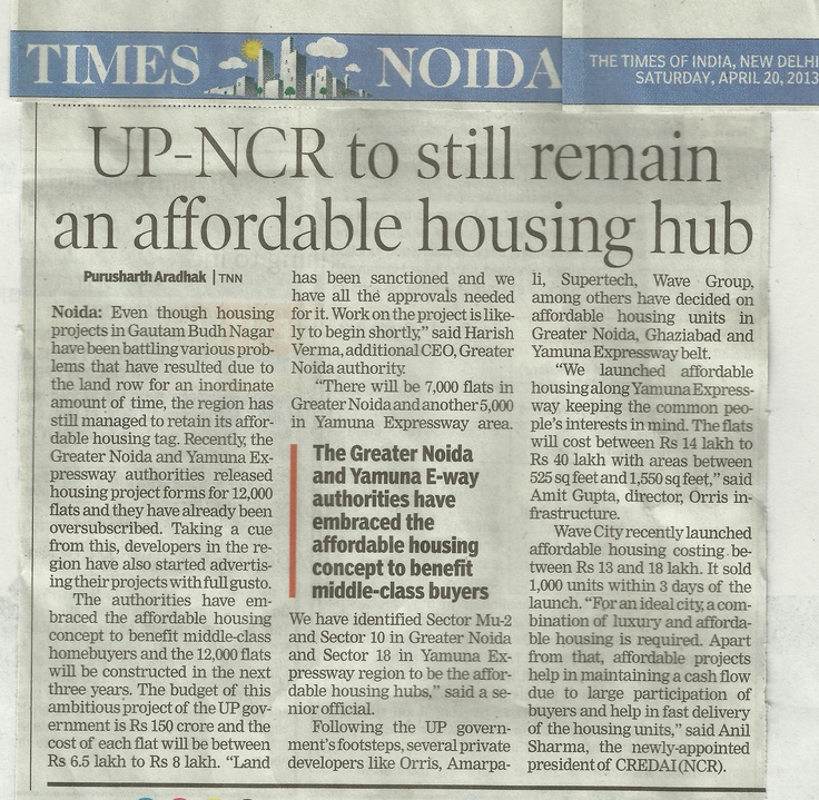 Orris Media coverage in The Times of India dated 20 April 2013