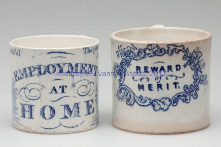 English Staffordshire transfer decorated childrens' mugs; 19th c. Some have names, Franklin's maxims, alphabet, pets...