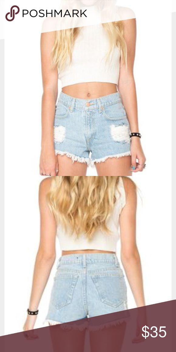 Brandy Melville High Waisted Denim Shorts Super cute, flattering ripped denim shorts from Brandy!  I would say fits about a 25-26.  Bought in Florence, Italy and just have too many pairs of shorts. Brandy Melville Shorts Jean Shorts