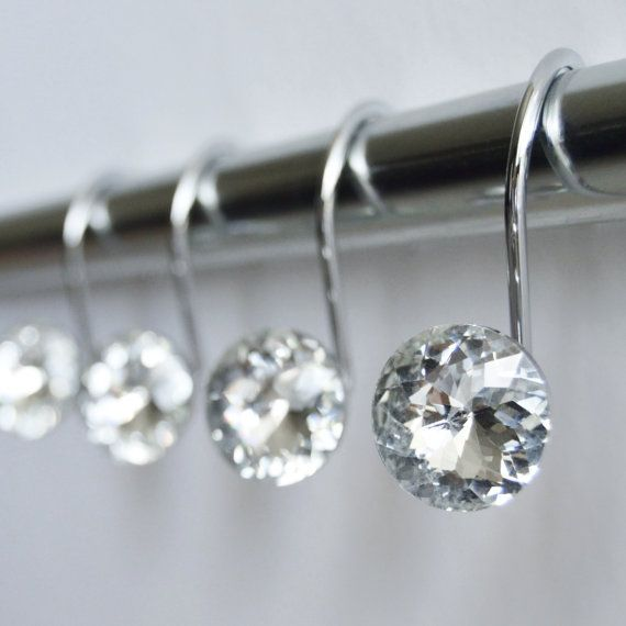 "ON SALE Decorative Shower Curtain Hooks Rings - Clear Highest Quality 1"" Glass Crystal Rhinestones Bath Set Women Girl Gift"