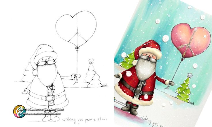 printable coloring page : peace and love santa by creationsCeeCee on Etsy
