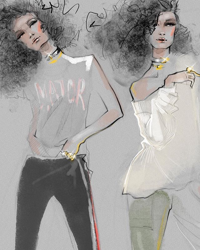 Illustration by Julija Lubgane New fashion illustration is here this time it is the super cool collection by @pamandgela spring 2017 #readytowear