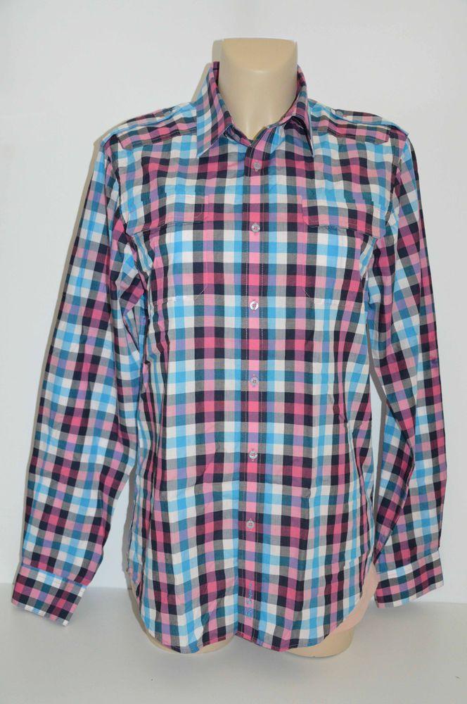 Free Postage - Ben Sherman Shirt Mens Size M Western Style Plaid Pattern