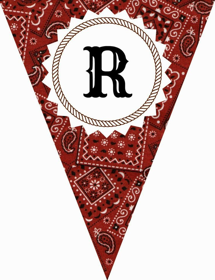 FREE Printable Western-Themed Pennant Banner (includes all letters and numbers)   Apples to Applique #western #party #cowboy #cowgirl #birthday