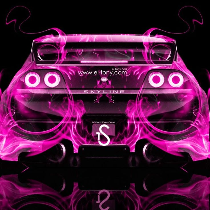 Nissan Skyline GTR R33 Back Pink Fire Abstract