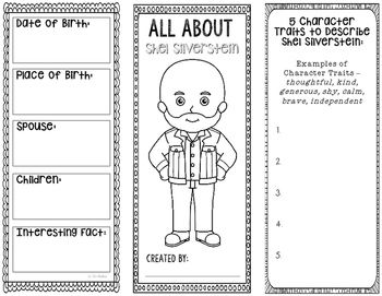 This two-sided tri-fold Shel Silverstein biography brochure template allows students to dig deeper into facts about the author. An interactive notebook pocket has been provided, however, these brochures can be created as a stand alone project as well.