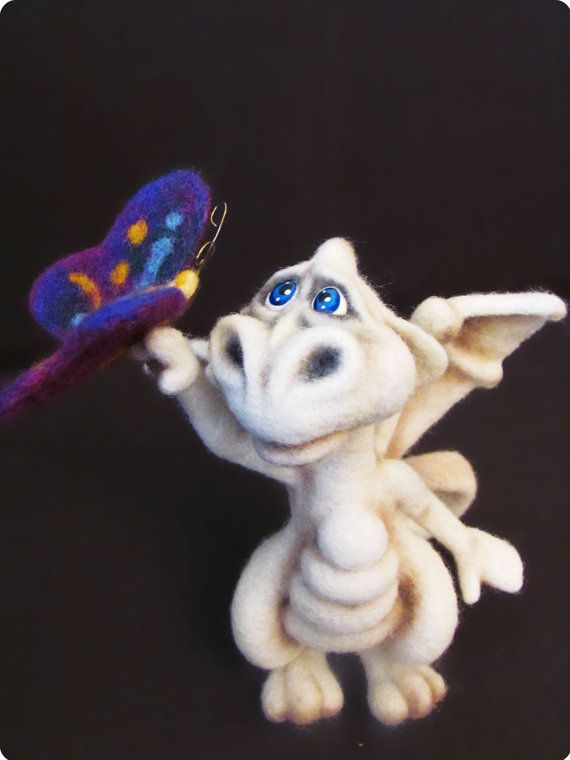 Needle Felted Toy  Little Dragon  rusteam by VladaHom on Etsy, $100.00