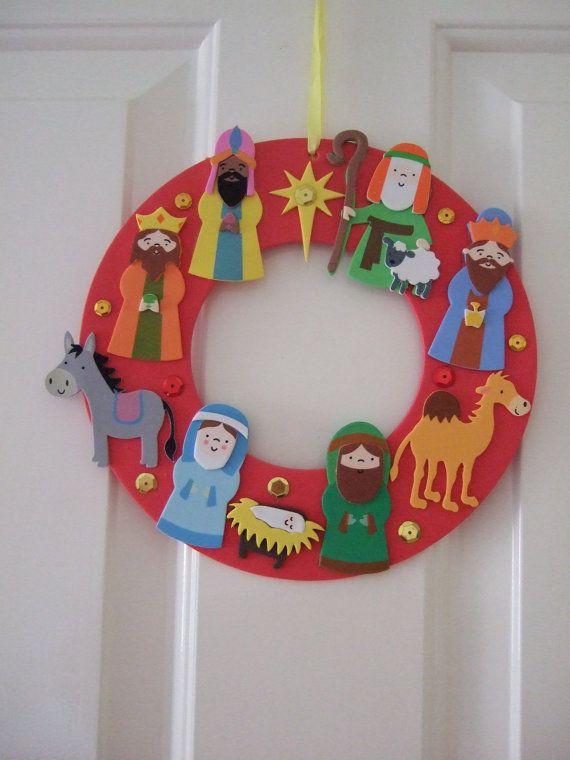 25% SALE Foam Nativity Door Wreath. Door Hanger. by MakeStitchKnit