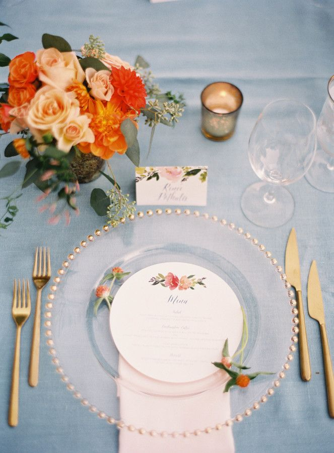 Ghost dinnerware and gold flatware: http://www.stylemepretty.com/2017/01/25/how-to-have-a-tuscany-inspired-wedding-in-california/ Photography: Jen Huang - http://jenhuangphoto.com/