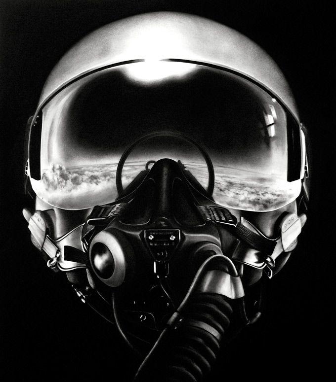 Les peintures au fusain de Robert Longo Longo Casque Pilote Avion Dessin Charbon 05 design art