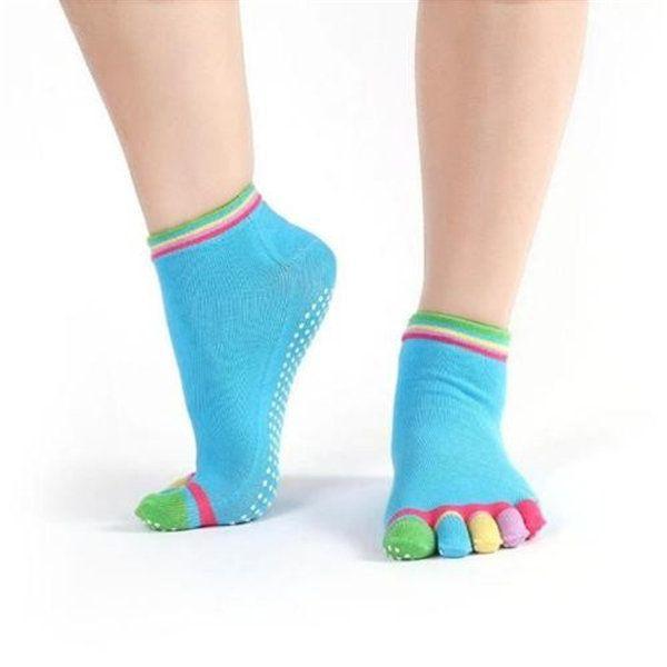 Women Cotton Yoga Gym Non Slip Massage 5 Toe Socks Full Grip With Socks Heel