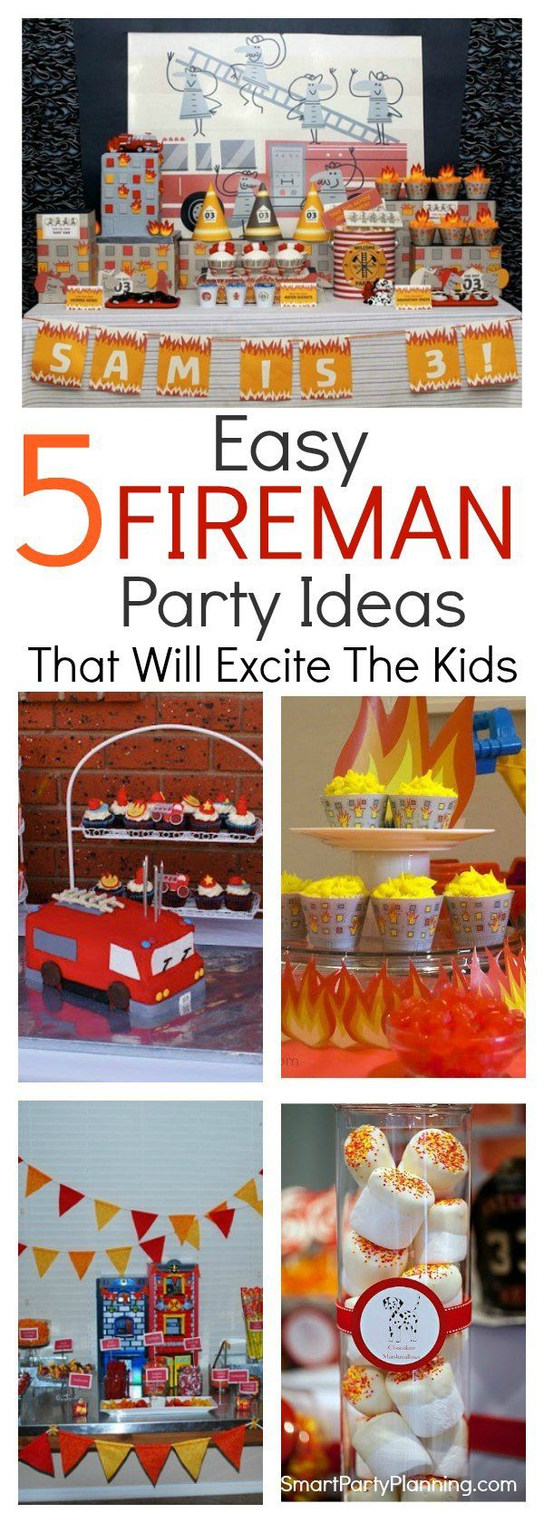 Awesome fireman birthday party ideas that the kids will love.  There are ideas for food, decorations, printable's and more. This is a party theme where there is a whole load of fun to be had and the fire truck cakes are pretty spectacular! #Firemanbirthdayparty #Birthday #Boys #Fun