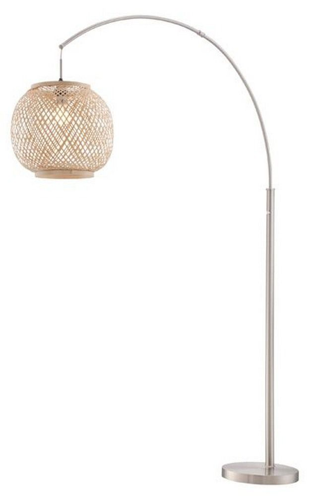 The Beacon Lighting Florida Wicker Floor Lamp In Natural With Opal