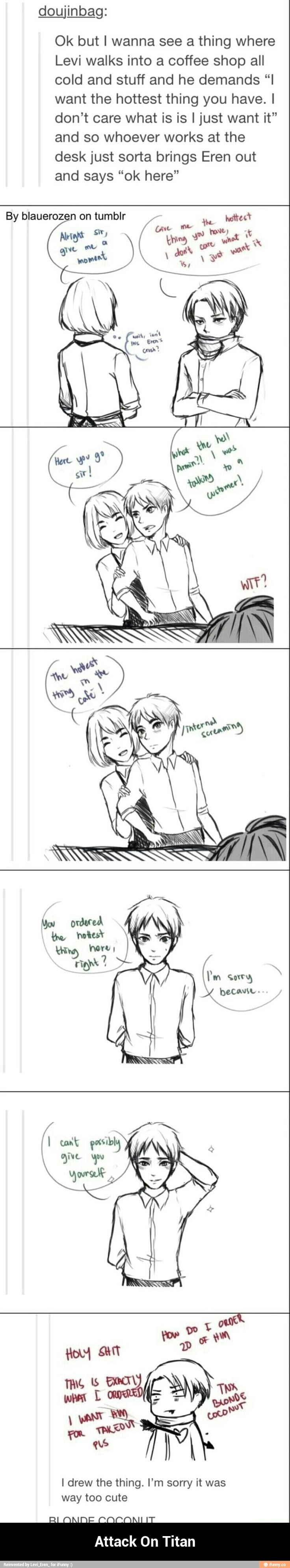 Oh. My. God. tumblr drawing, levi orders the hottest thing at a cafe and armin brings out eren