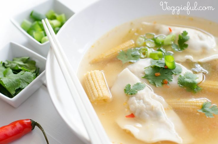 Vegan Asian Dumpling Soup Recipe has the earthy flavors of mushroom, garlic, scallion, and sesame in every wonton.