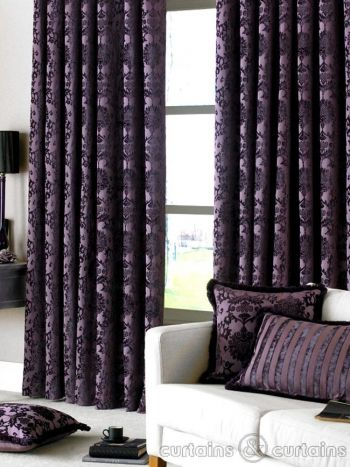 Dulux Luxury Heavy Thick Cut Velvet Damson Purple Pencil Pleat Curtain - Curtains UK