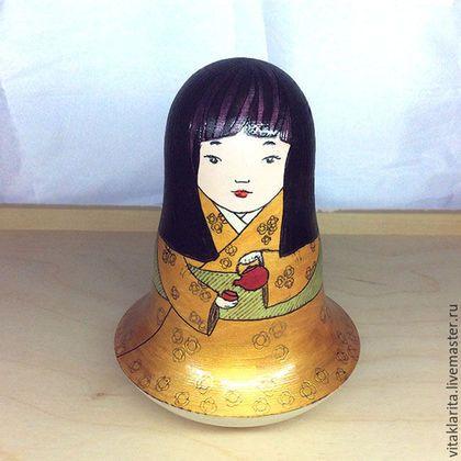 Статуэтки ручной работы. Ярмарка Мастеров - ручная работа. Купить Неваляшка-японочка чайница. Handmade. Золотой, чай, японский стиль