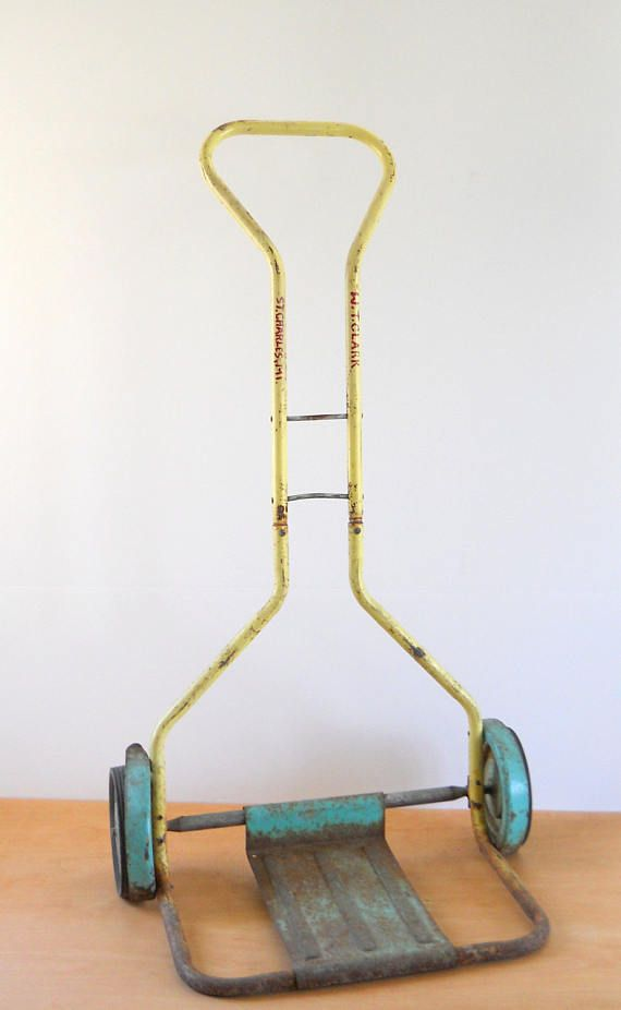 Vintage Hand Truck  Metal Hand Dolly  Aqua and Yellow Hand