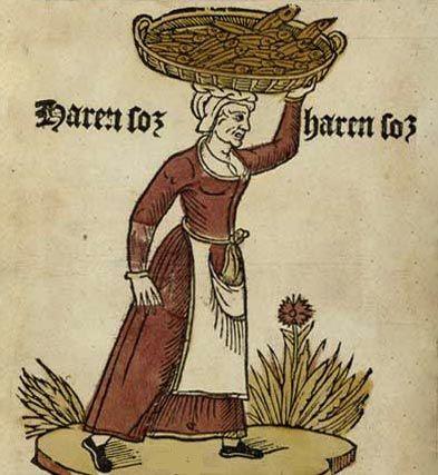 Vrouw met mand vol vissen.Tekening, ca. 1500