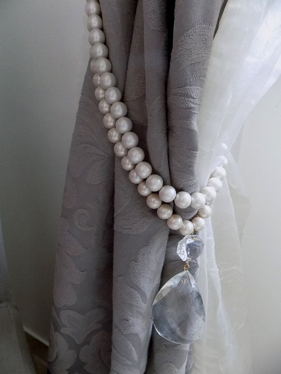 Set Of 2 Double Strand Faux Pearls Tiebacks With Vintage Crystal