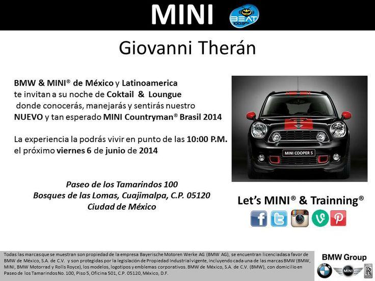 Invitación Noche de Coktail & Lounge MINI & BMW Brasil 2014 Junio 6 2014  Transmisión en VIVO a través de BEAT 100.9 FM