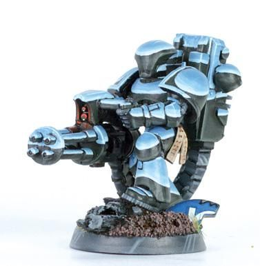 """""""Non-Metallic Metal Space Marine Devastator""""   Meaning that the miniature isn't painted with metallic paints. All that """"shine"""" is actually carefully painted shading. This is what I need to start doing."""