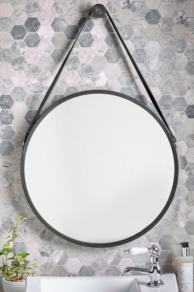 Next Faux Leather Strap Mirror Black Leather Mirror Round Mirror Bathroom Bathroom Mirrors Uk