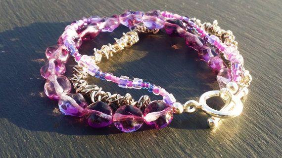 Purple Multi Strand Bracelet with Purple Glass by DorsetCreations