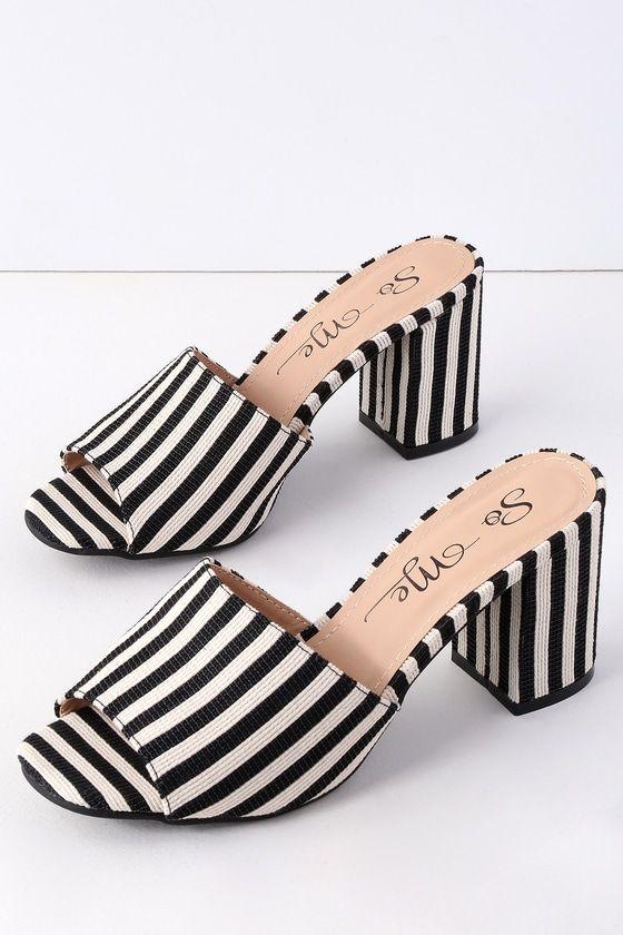 5de3ed7e8fc Sussudio Black and White Striped Peep-Toe Mules in 2019