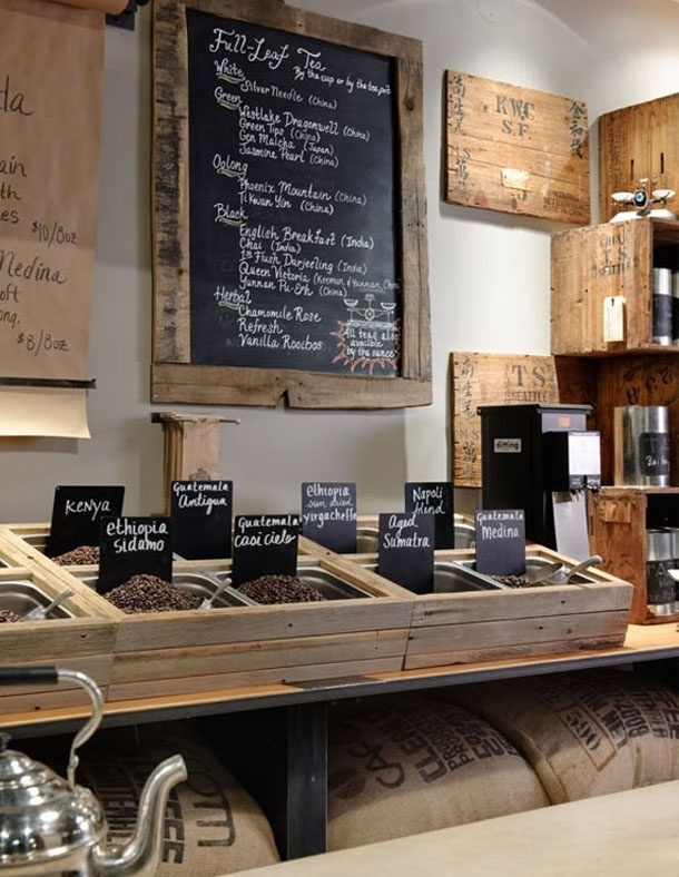 Coffee and tea display...