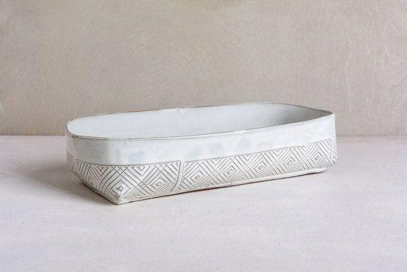 Ceramic baking dish, white Kitchen bake ware, Rectangular lasagna dish, Modern…