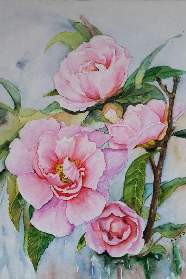 Blumen - Kamelien - Original Aquarell - 24x32 cm  Das Bild ist ein Original Aquarell, auf hochwertigem  Aquarellpapier 300 g, mit Schmincke Aquarellfarben gemalt und handsigniert.   Sie...