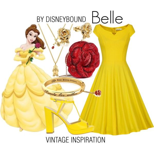 Belle by leslieakay on Polyvore featuring Judith Leiber, Disney, vintage, disney, disneybound, disneycharacter and dapperday