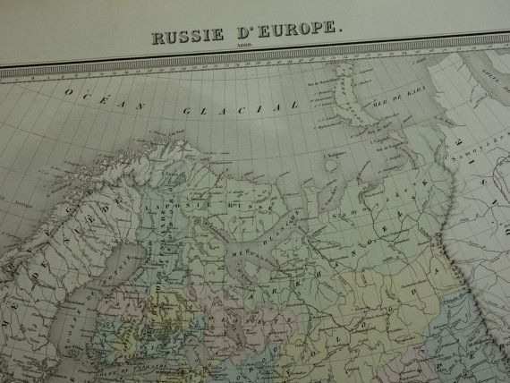 LARGE Antique map of Russia 1858 original old by VintageOldMaps