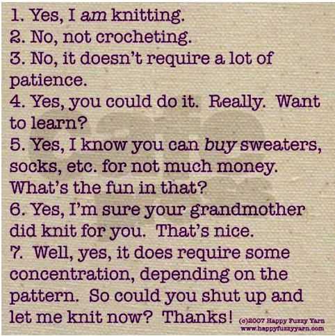 XD!Knits Funny, Funny Knits, Crochetknit Projects, Fields Bags, Totes Bags, Knits Humor, Fun Crafts, Knits Stuff, Answers Purple
