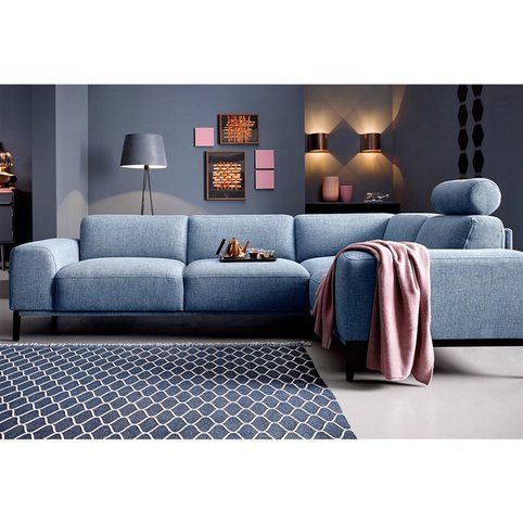 canape angle fixe droit ou gauche en tissu aspect tweed trendmanufaktur bleu vue 1 home dream home canape angle mobilier de salon maison
