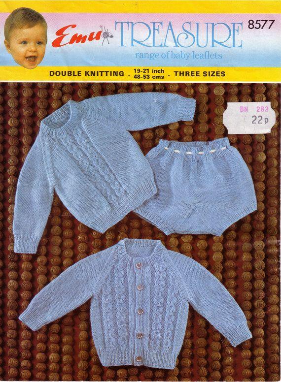 Vintage PDF Baby Knitting Pattern - Emu 8577 - jumper cardigan shorts Instant Download