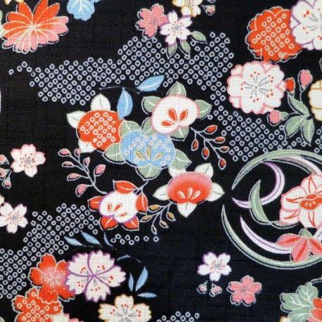 Tissu japonais coton dobby noir fleurs de prunier, cerisier et chrysantèmes