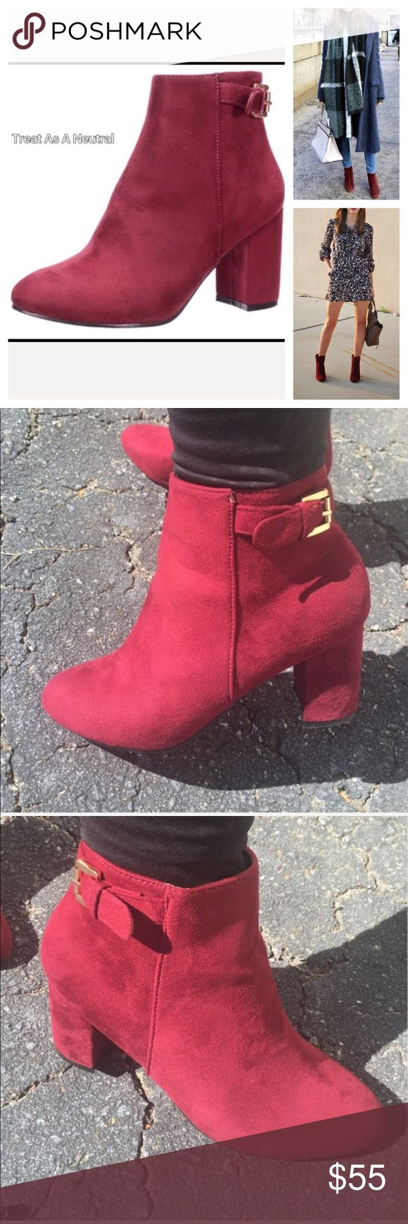 🆕Beautiful Wine Colored Boots Must Have For Fall Beautiful boots to give you that lovely pop of color. This is the it color this season. I have a ton of boots theses boots are now my number one pick. Suede like material. Two inch heel. Wine or burgundy in color. Inside the boots will have a darker appearance outside with the sun they will be brighter. Keep in mind color will be slightly different in person. Price not negotiable unless bundling. Go a size up as these do run a little small…