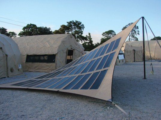 FTL has two main solar products – the Powermod 285 and the Powermod 1200, which are rated at 285 W and 1200 W, respectively. It can be used as a sun shade in your backyard. The fabric can basically be installed in the same ways you would utilize a tarp. The Powermod 285 can easily produce enough power to run phones, computers, fans, power tools, lights.... http://inhabitat.com/flexible-lightweight-solar-fabric-by-ftl-solar/