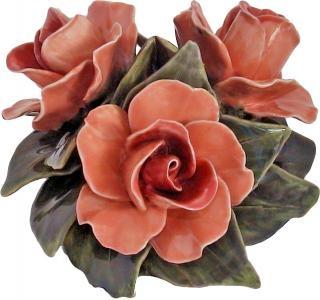Ceramiques florales Dessus de vases Lot de 2 bouquets 3 fleurs 17cm roses saumon, Céramiques de France, articles funéraires