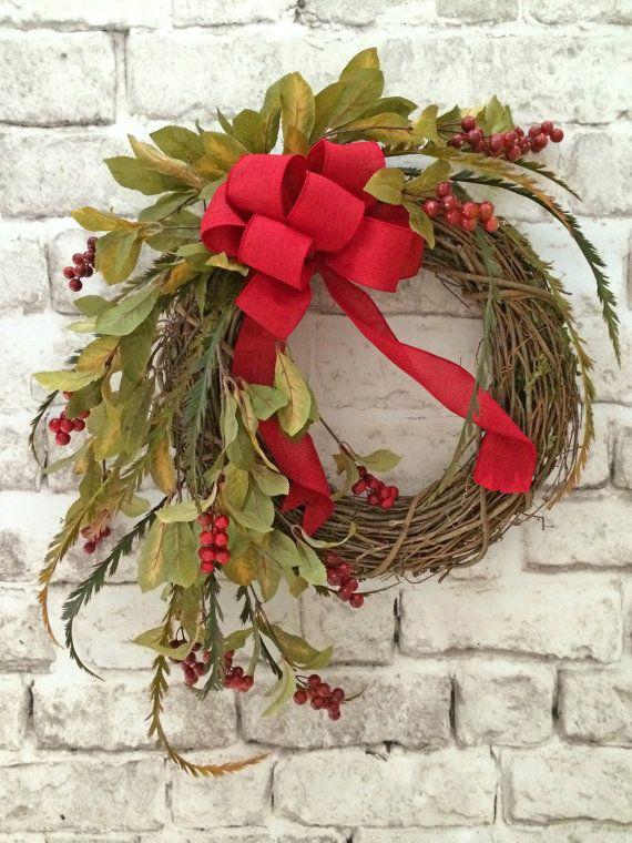 Red Berry Wreath, Summer Wreath For Door, Front Door Wreath, Outdoor Wreath,