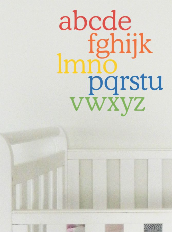 Rainbow coloured Alphabet wall sticker. Easy to apply removable wall decal to brighten up the nursery or kids rooms.  #wallsticker #walldecor #walldecal #alphabet