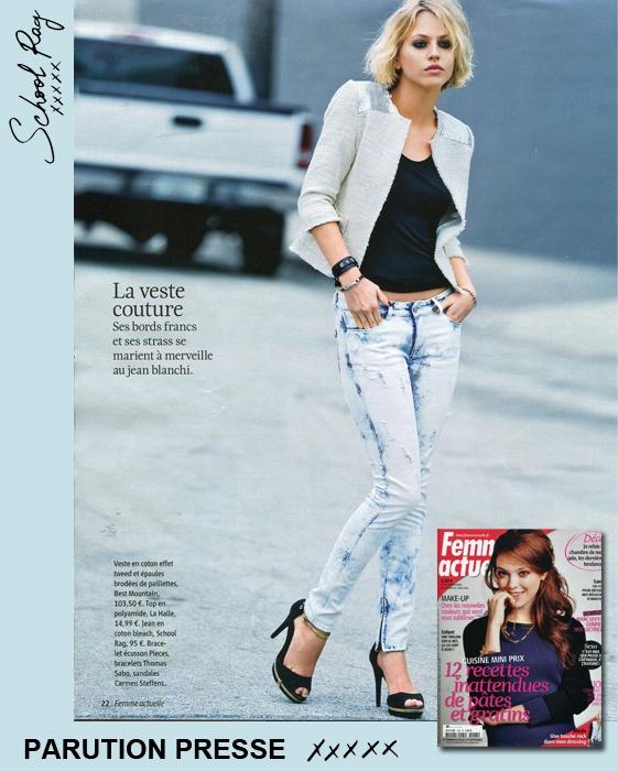 Découvrez dans le dernier Femme Actuelle [25-02-13] : notre pantalon « Phany » Super Slim en coton bleach #SCHOOLRAG