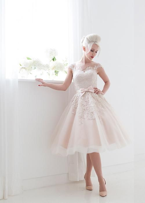 Vintage Style Short Wedding Dresses Cap Sleeve Bateau Neck Bow Sash Light Pink Lace Tulle A Line Tea Length Bridal Gowns Custom Made W665 Designer Gown Discount Bridal Gowns From Find_my_dress, $87.56| Dhgate.Com